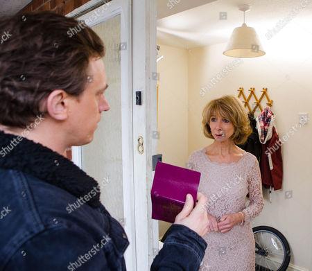 As Gail McIntyre [HELEN WORTH] prepares to leave for her wedding, Gavin Rodwell [MARK HOLGATE] knocks on the door, introducing himself as Gavin, Michael's real son. Gail reels.