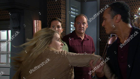 Charity MACEY  [EMMA ATKINS]realises she is about to lose everything, including her freedom and panicked makes hasty plans to go. She empties a safe and is packing when a furious Megan Macey [GAYNOR FAYE] and Jai Sharma [CHRIS BISSON] storm in spoiling for a fight holding the DVD they have also been sent. With Jimmy King [NICK MILES] standing in as her protector Charity avoids this altercation but Megan menacingly tells Jimmy that Charity will get what is coming to her.