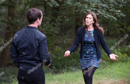 Megan Macey [GAYNOR FAYE] and Robbie Lawson [JAMIE SHELTON] get to the cottage but with Declan and Charity not there Megan and Robbie continue to look for them nearby.