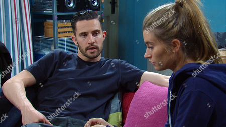 Stock Photo of Debbie Debbie [CHARLEY WEBB] finds a tearful Ross Barton [MICHAEL PARR] packing his things but she tells him that the grief will just follow him wherever he goes. He breaks down; angry that Donna didn't tell him she had cancer and caught up in the moment he kisses Debbie. Ross asks Debbie to say she loves him but will Debbie give him what he wants or will she realise her love for Pete?