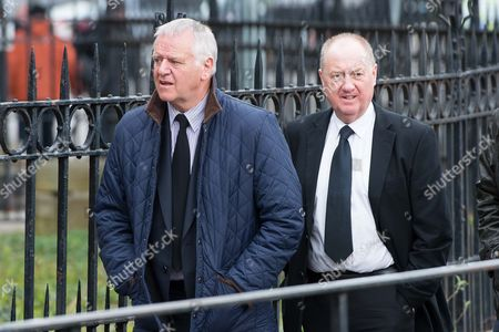 Jim Jeffries and Billy Brown, ex management pairing at Hearts, arrive for the funeral.