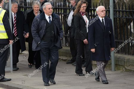 Ian St John and Willie Henderson arrive for the funeral.