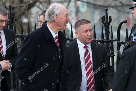 Stock Image of Gordon Marshall Snr and John Robertson arrive for the funeral.