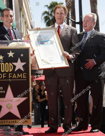 LA Mayor Eric Garcetti, Will Ferrell and Tom LaBonge