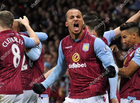 Aston Villa's Gabby Agbonlahor celebrates their opening goal