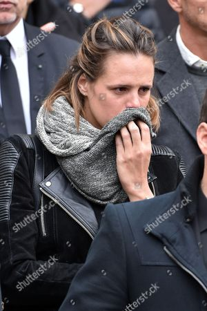 Former French Olympic, world and European champion swimmer, Laure Manaudou attends the funeral of Camille Muffat, the olympic gold medallist swimmer, during a private ceremony at St Jean-Baptiste-Le Voeu church after being repatriated from Argentina over the weekend along with the seven other French nationals who died in a helicopter crash