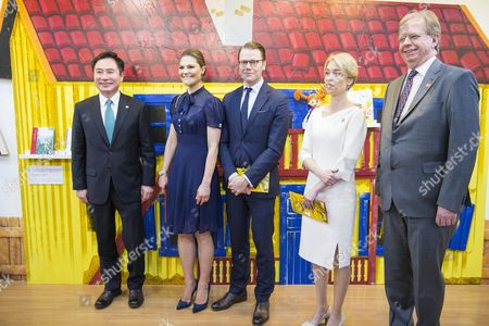 Crown Princess Victoria, Prince Daniel, Annika Strandhall, Lars Danielsson visit to the National Library for Children and Young Adults