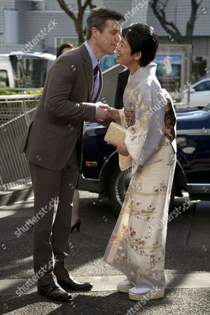 """His Royal Highness the Crown Prince Frederik greets the Princess Hisako Takamado of the Imperial House of Japan during the opening ceremony of the exhibition """"The Spiritual Greenland"""" at Hillside Forum in Daikanyama"""