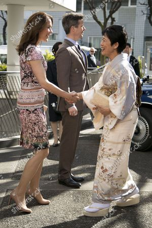 """Her Royal Highness the Crown Princess Mary greets the Princess Hisako Takamado of the Imperial House of Japan during the opening ceremony of the exhibition """"The Spiritual Greenland"""" at Hillside Forum in Daikanyama"""