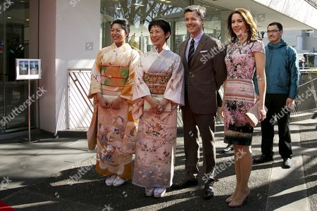 """Princess Hisako Takamado and her oldest daughter Princess Tsuguko of Takamado of the Imperial House of Japan, His Royal Highness the Crown Prince Frederik and Crown Princess Mary pose for the cameras during the opening ceremony of the exhibition """"The Spiritual Greenland"""" at Hillside Forum in Daikanyama"""