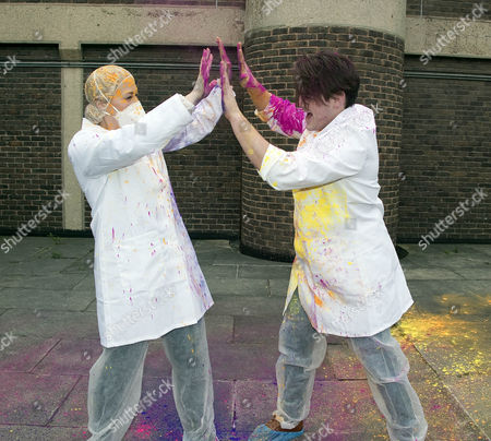 Amelia Lily Oliver and Matt Lapinskas after their paint battle