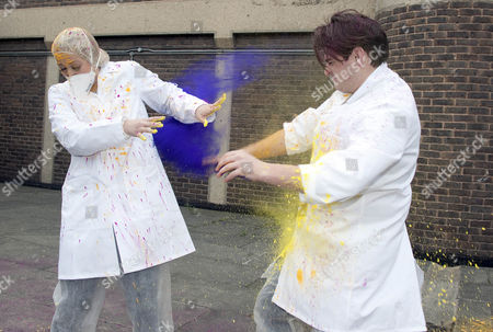Amelia Lily Oliver and Matt Lapinskas during their paint battle