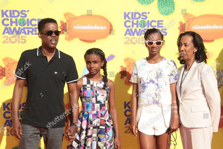 Chris Rock with his mother Rosalie and daughters Zahra Savannah Rock and Lola Simone Rock