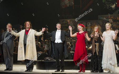 Curtain Call Philip Quast as Judge Turpin, Bryn Terfel as Sweeney Todd, David Charles Abell (Conductor), Emma Thompson as Mrs Lovett, Rosalie Craig as Beggar Woman, Katie Hall as Johanna