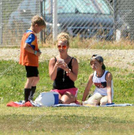 Editorial picture of Britney Spears watching her son play football, Canoga Park, Los Angeles, America - 29 Mar 2015