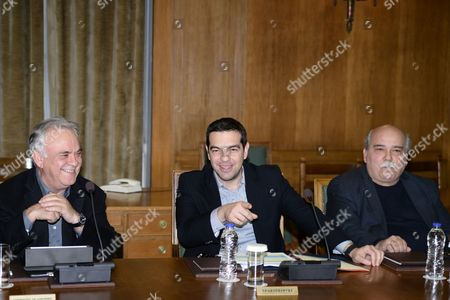 Deputy Prime Minister, Yannis Dragasakis, Prime Minister Alexis Tsipras and Minister of Interior Nikos Voutsis