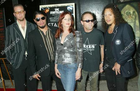 James Hetfield, Rob Trujillo,Traci Lords, Lars Ulrich and Kirk Hammett