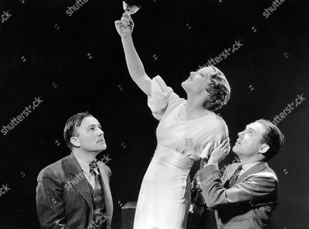 Robert Armstrong, Constance Cummings, Frank Albertson, on-set of the Film, 'Billion Dollar Scandal', 1933