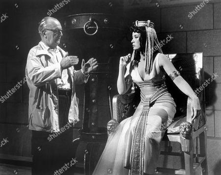 Stock Image of Director Viktor Tourjansky & Linda Cristal, on-set of the Film, 'The Pharaoh's Woman' (aka La Donna dei Faraoni), 1960