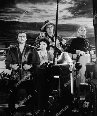 Yul Brynner, Claire Bloom, George Mathews, Charles Boyer, on-set of the Film, 'The Buccaneer', 1958