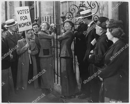 Women's Voting Rights Protest, on-set of the British Film, 'Fame is the Spur', 1947