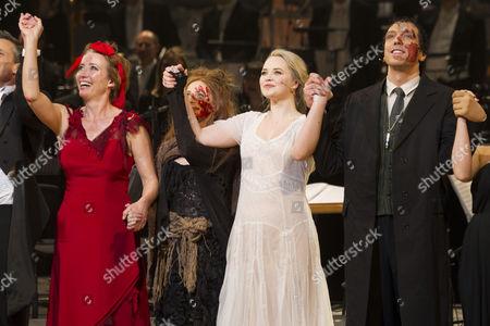 Emma Thompson (Mrs Lovett), Katie Hall (Johanna) and Alex Gaumond (Beadle Bamford) during the curtain call