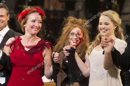Emma Thompson (Mrs Lovett), Rosalie Craig (Beggar Woman) and Katie Hall (Johanna) during the curtain call