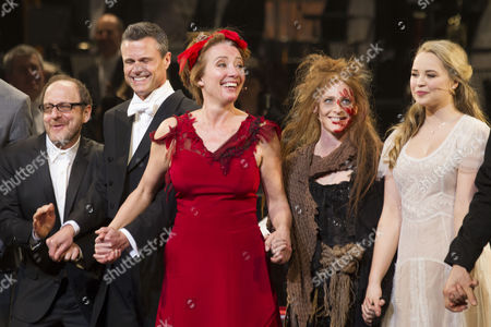 Lonny Price (Director), David Charles Abell (Conductor), Emma Thompson (Mrs Lovett), Rosalie Craig (Beggar Woman) and Katie Hall (Johanna) during the curtain call