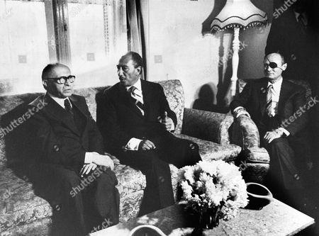Menachem Begin, Anwar Sadat and Moshe Dayan
