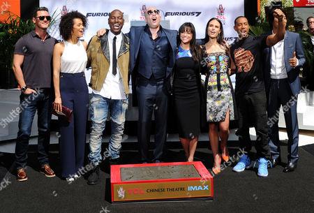 Stock Image of Lucas Black, Nathalie Emmanuel, Tyrese Gibson, Vin Diesel, Michelle Rodriguez, Jordana Brewster and Ludacris
