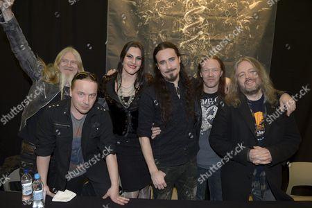 Marco Hietala, Emppu Vuorinen, Floor Jansen, Tuomas Holopainen, Kai Hahto and Troy Donockley