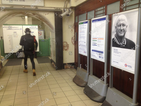 A Bob Crow Poster At Putney Bridge Tube Station In London. Mayor Of London And Transport For London Have Paid Tribute To Bob Crow General Secretary Of The National Union Of Rail Maritime And Transport Workers Who Died 11th March 2014 By Erecting A Memorial Poster In Each Tube Station.