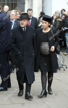 The Funeral Of Tony Benn Mp (died 14/3/2014) At St Margaret's Church Westminster. George Galloway And Pregnant Fourth Wife Putri Gayatri Pertiwi.