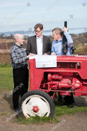 Michael Crockart with farm general manager, Rowland Thomson, and Willie Rennie