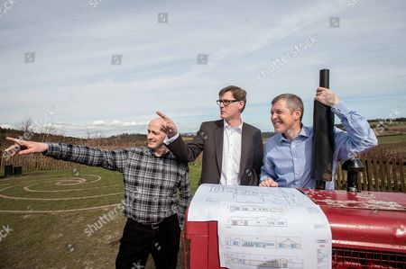 Stock Photo of Michael Crockart (C) with farm general manager, Rowland Thomson, and Willie Rennie