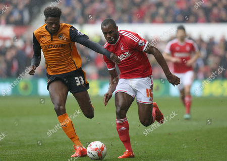 Stock Image of Nottingham Forest's Michail Antonio beats Wolverhampton Wanderers Dominic Iorfa for pace