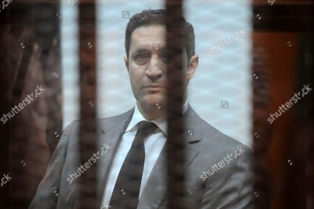 Alaa Mubarak, the son of former Egyptian President Hosni Mubarak, is seen inside the court