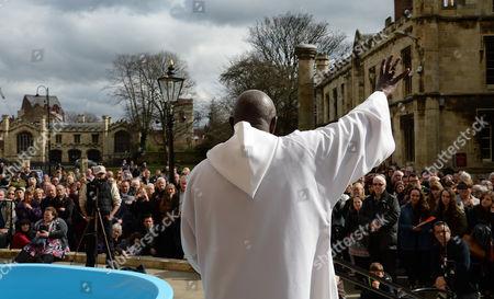The Archbishop of York, Dr John Sentamu addresses the crowds