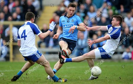 Monaghan's Ryan Wylie and Dessie Malone with Paul Flynn of Dublin