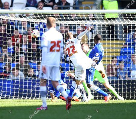 Bolton Wanderers' Eidur Gudjohnsen scores against Cardiff City