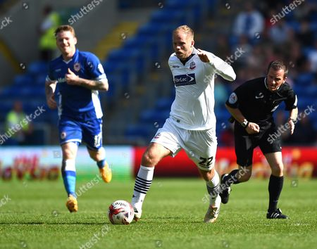 Bolton Wanderers' Eidur Gudjohnsen in action during the Sky Bet Championship match between Cardiff City and Bolton Wanderers at Cardiff City Stadium on 6 April 2015 in Cardiff, Wales