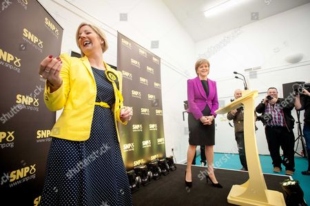Hannah Bardell and Nicola Sturgeon share a laugh before having a Q&A session with the audience