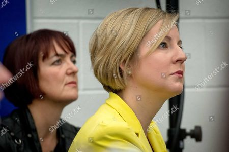 Angela Constance and Hannah Bardell watch on as Nicola talks