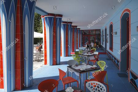 Restaurant in the Fuchspalast Hotel, designed by Ernst Fuchs, St. Veit an der Glan, Carinthia, Austria, Europe