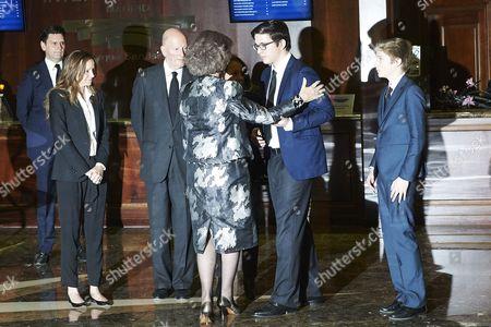 Former Queen Sofia of Spain, Miriam Ungria, Simeon Borisov Sakskoburggotski and Margarita Gomez-Acebo, Prince Boris Turnovski and Prince Beltran Turnovski