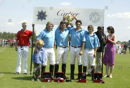 Stock Image of Hurlingham Polo Team, winners of the Golden Jubilee Cup. Richard Le Poer, Satnam Dhillon, Malcolm Borwick and Chris Hyde