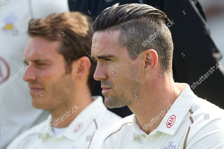 Kevin Pietersen  with Chris Tremlett (L)  at the Surrey CCC media day - 09/04/2015
