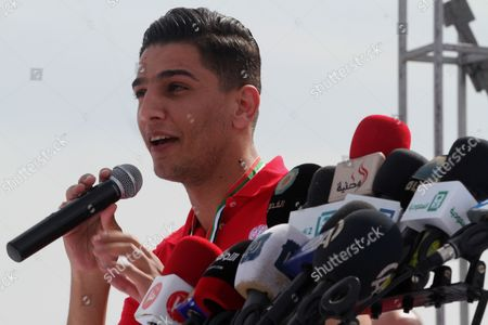 Palestinian Arab Idol Mohammed Assaf performs during an event organized by United Nations at a U.N-run training center in Khan Younis