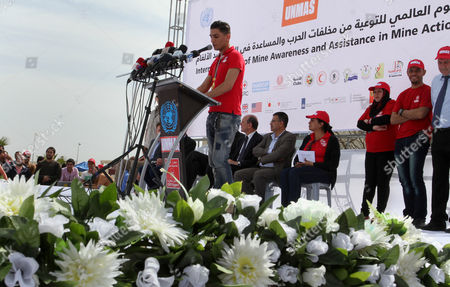 Palestinian Arab Idol Mohammed Assaf, speaks during an event organized by United Nations at a U.N-run training center in Khan Younis