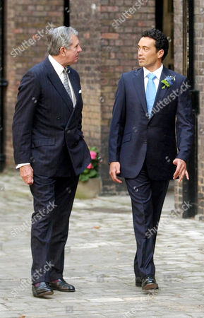 Gary Lewis (right) with Roger Wellesley Smith, the godfather to his bride, on their way to the chapel